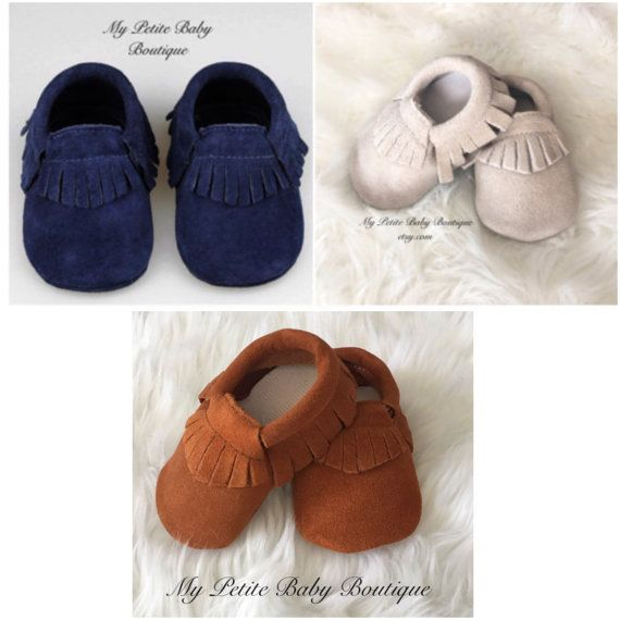 Genuine Suede Leather Baby Moccasins, Baby Boy Moccasins, 100% Leather…