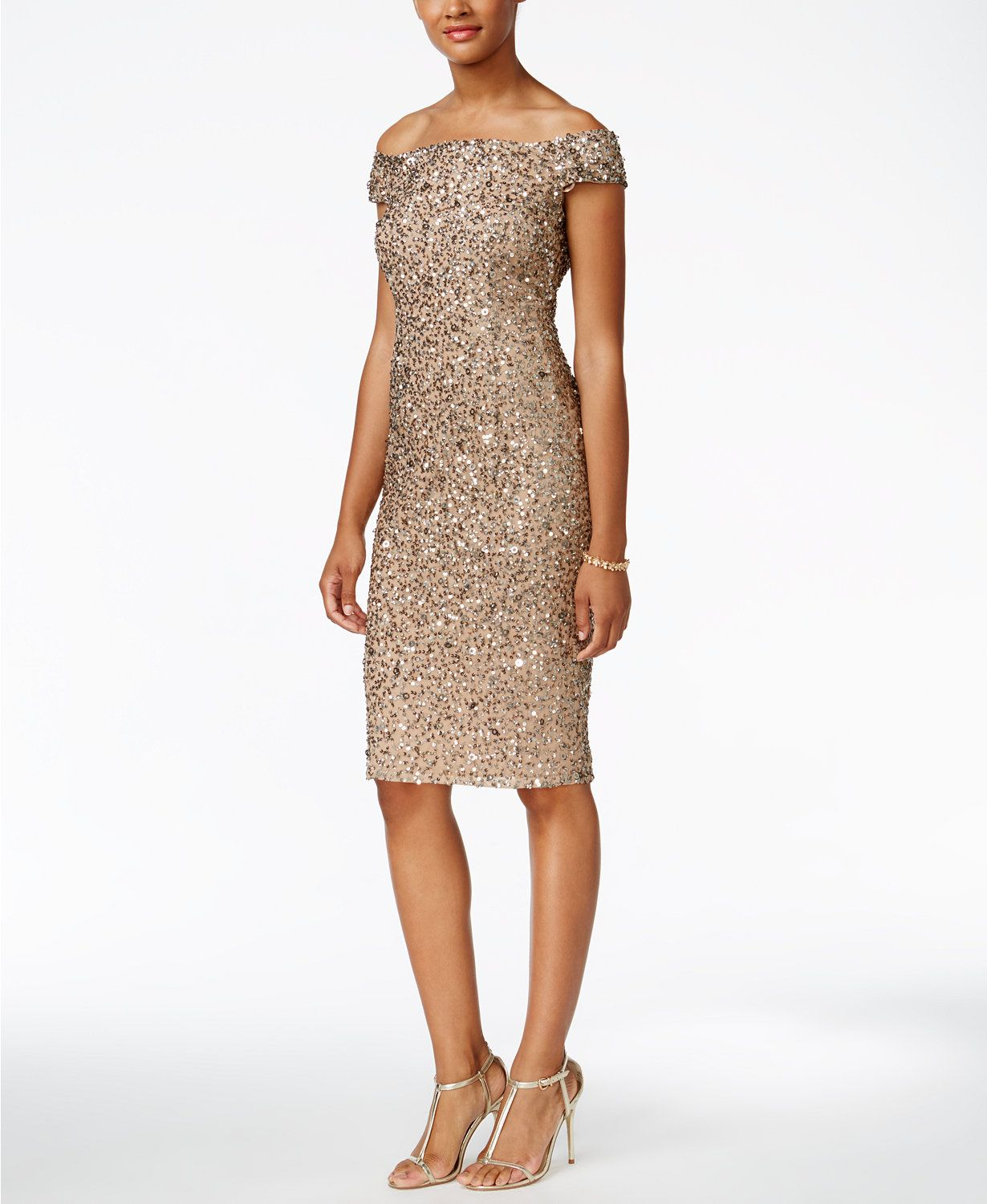 Adrianna Papell Off-The-Shoulder Sequined Dress | macys.com ...