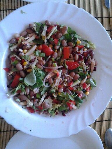 Ensalada mix de alubias pintas y brotes de soja.