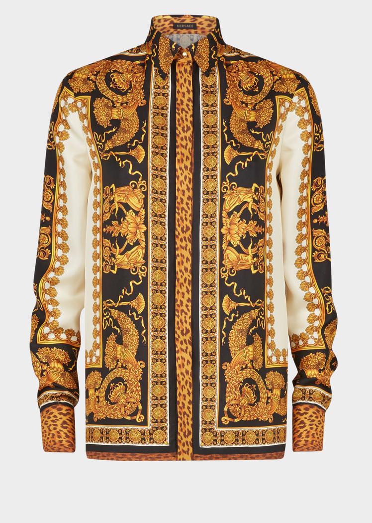 3b9dd29d9aa8 Signature Wild Print Silk Shirt - Versace Blouses   Tops