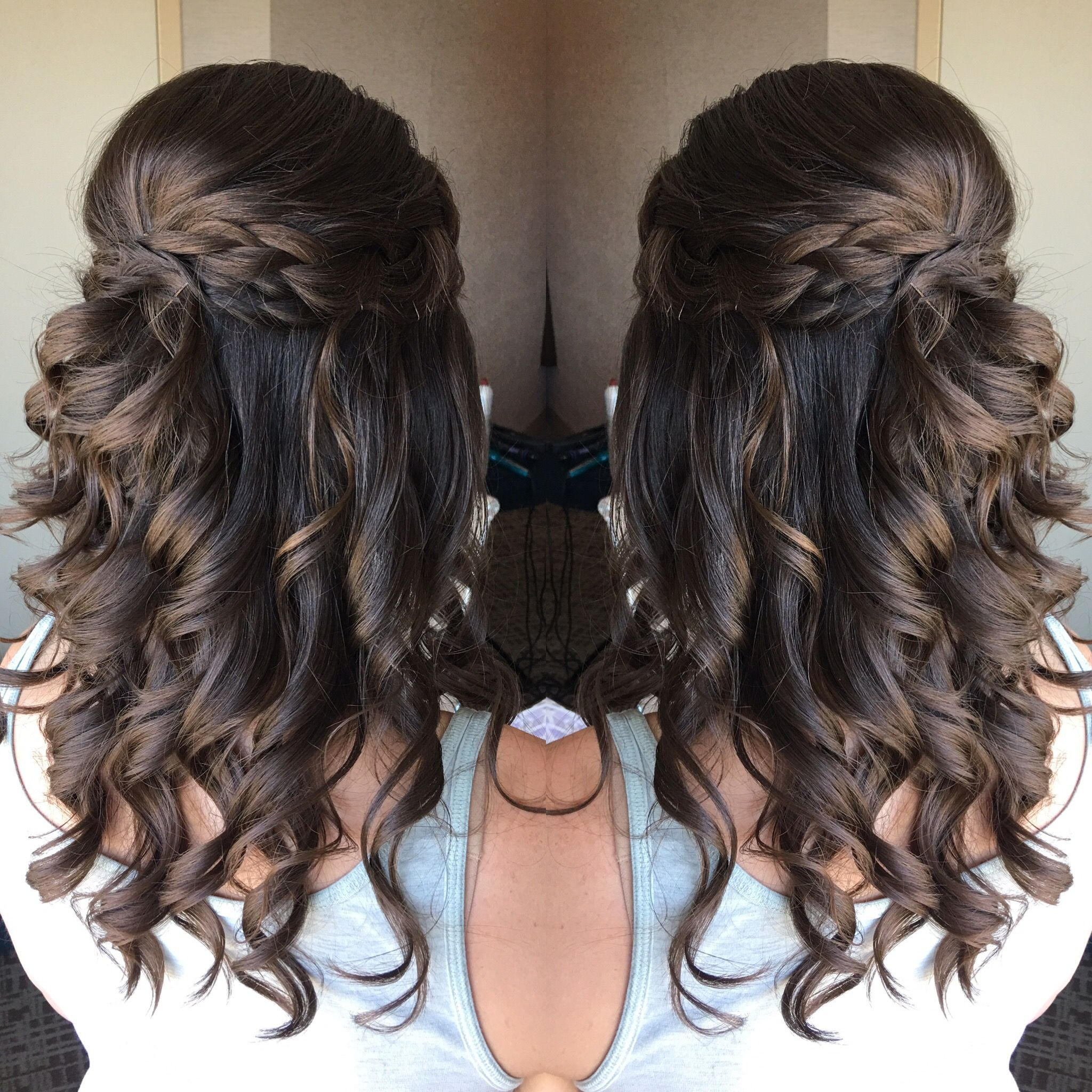 Braided half up half down wedding hairstyle