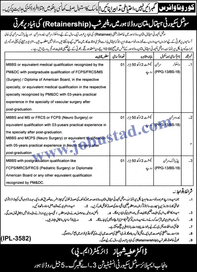 Punjab Employees Social Security Institution PESSI Jobs