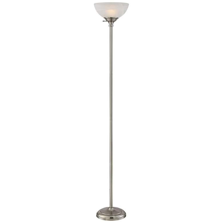 Maddox Satin Nickel Modern Torchiere Floor Lamp 1k792 Lamps Plus In 2020 Torchiere Floor Lamp Halogen Floor Lamp Floor Lamp