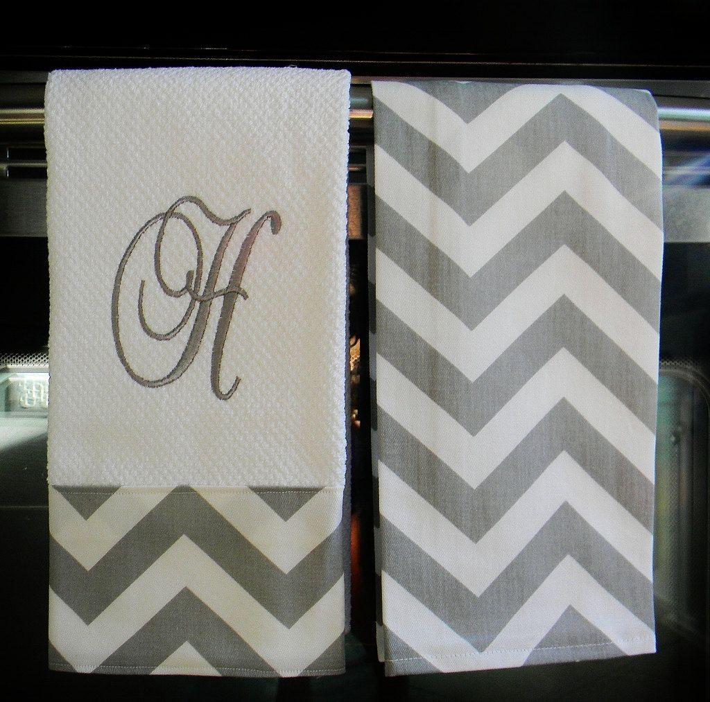 Monogrammed Kitchen Towels In Grey / White Chevron