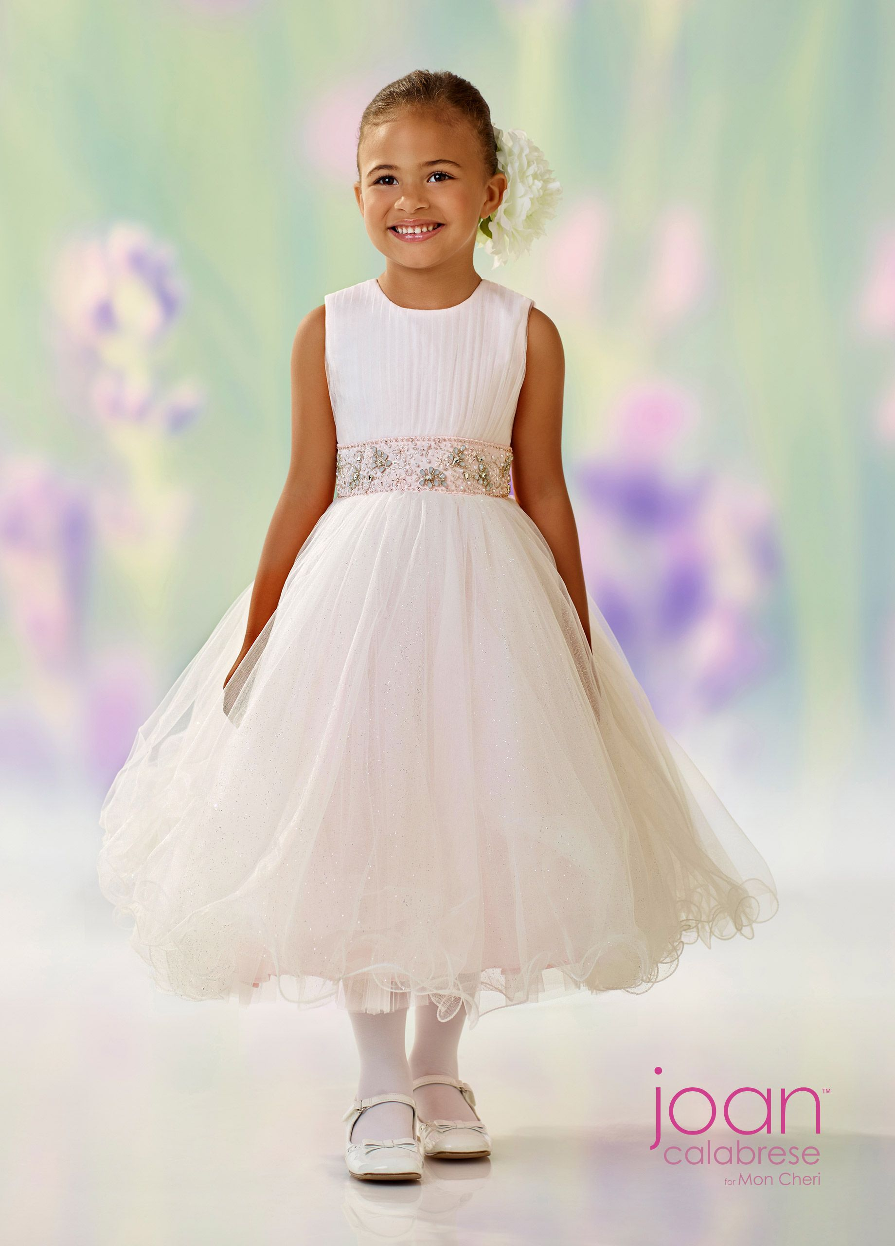 3e5c234bf Joan Calabrese For Mon Cheri 118303 - Sleeveless satin, tulle and sparkle  tulle tea-length A-line dress with vertically ruched tulle bodice, ...