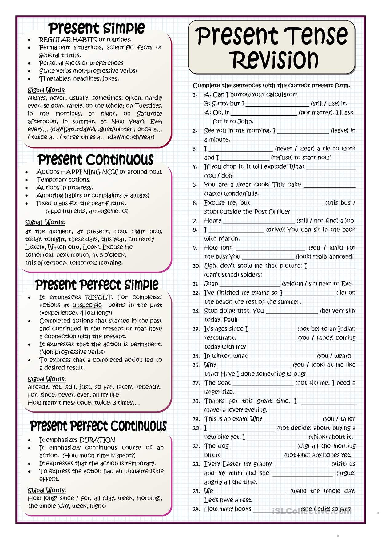 English Esl Worksheets Activities For Distance Learning And Physical Classrooms X86017 Basic French Words Progressive Verbs Tenses Exercises [ 1752 x 1239 Pixel ]