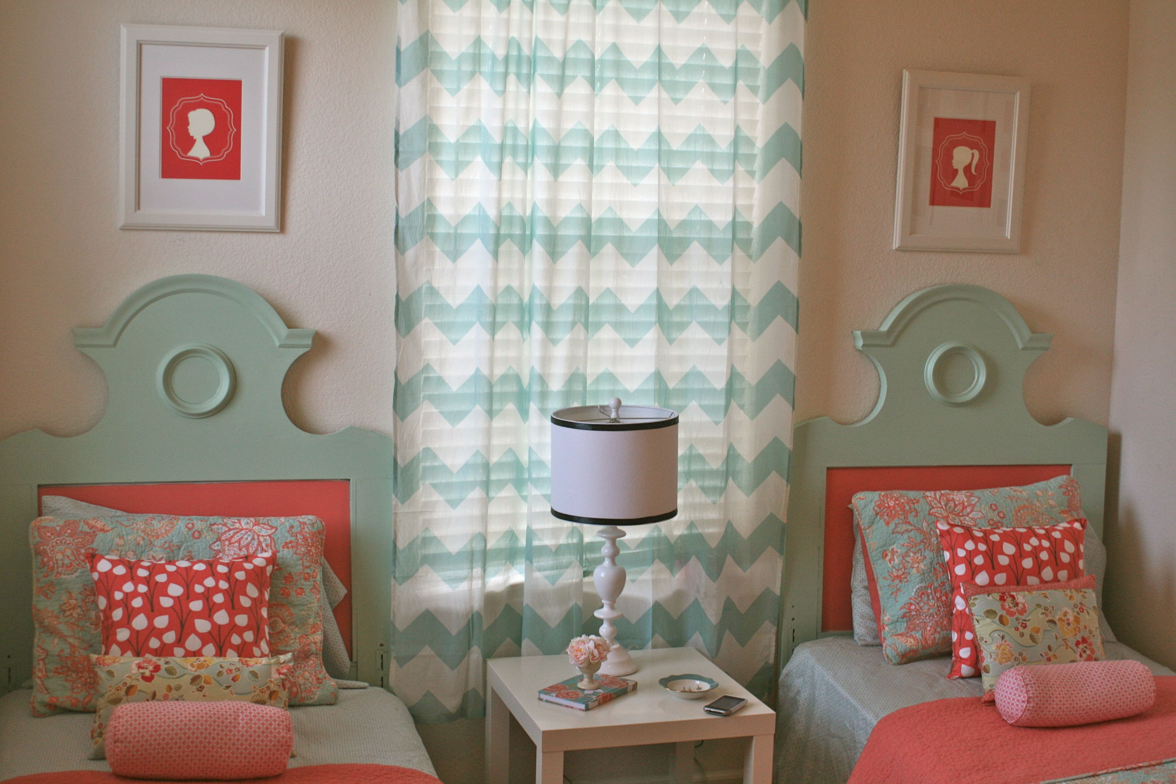 My girls coral, pink and blue room.  More pictures at www.simply-designgirl.blogspot.com