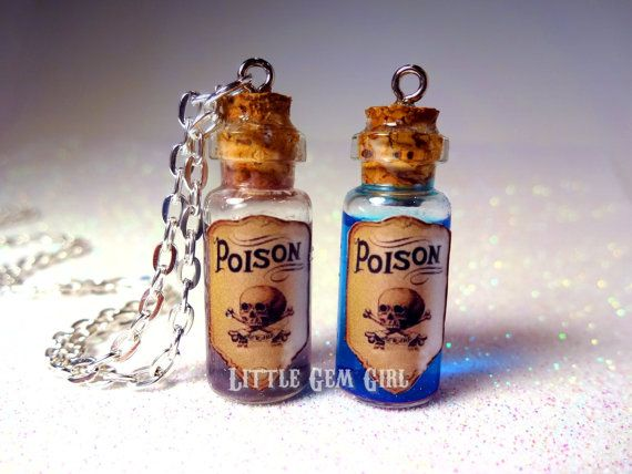 0dc85183f7f9 Poison Glass Bottle Necklace - Poison Vial Charm - Many Colors ...
