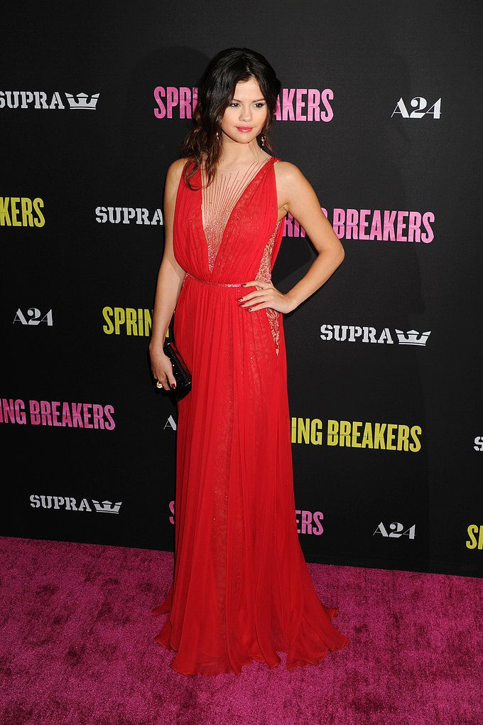 Selena Gomez LA Spring Breakers Red Carpet Chiffon Beaded V-neck ...