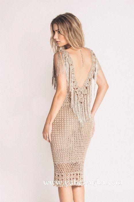 длинное ажурное платье крючком схемы вязаные вечерние платья