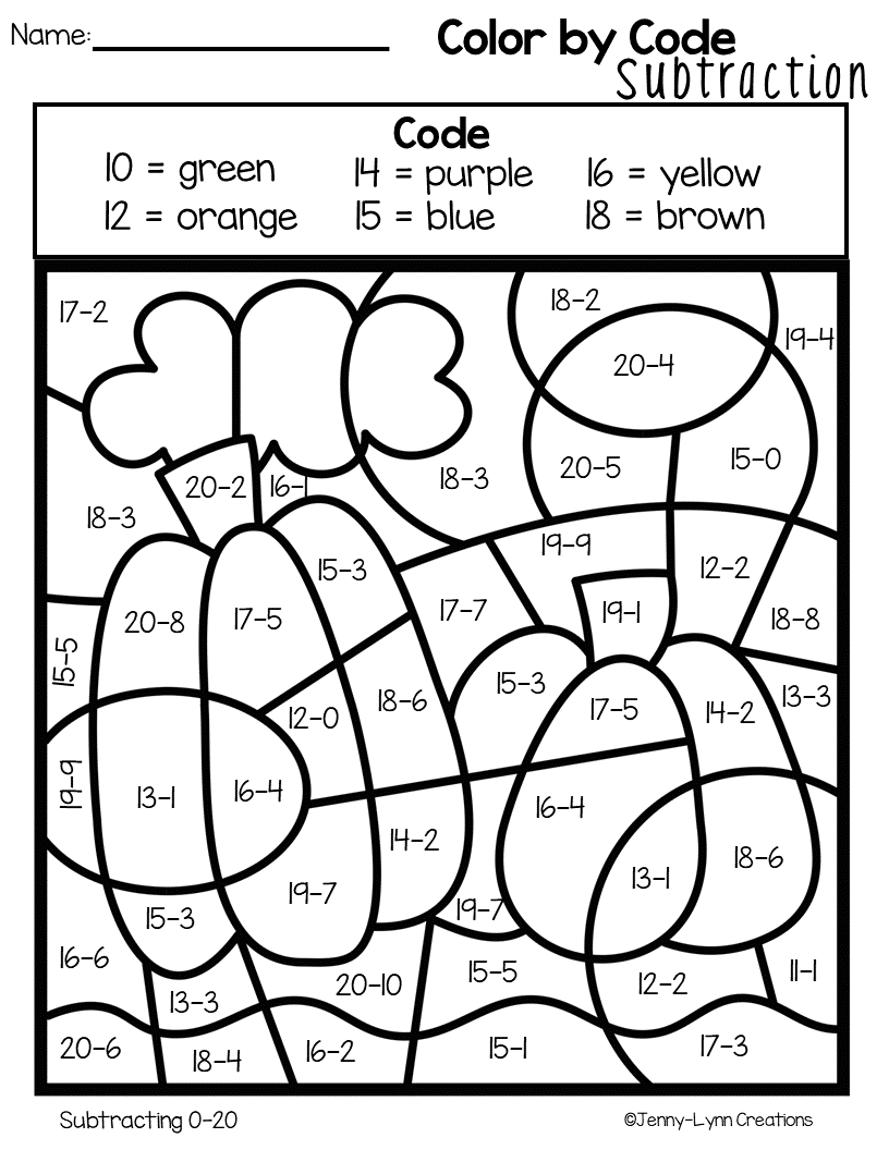 Fall Subtraction Addition And Subtraction Subtraction Addition Coloring Sheets [ 1056 x 816 Pixel ]