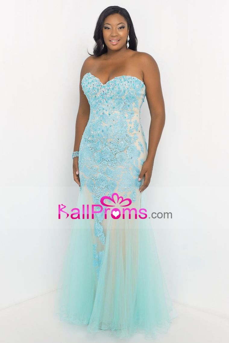 2015 Plus Size Sweetheart Prom Dresses With Applique And Beads ...