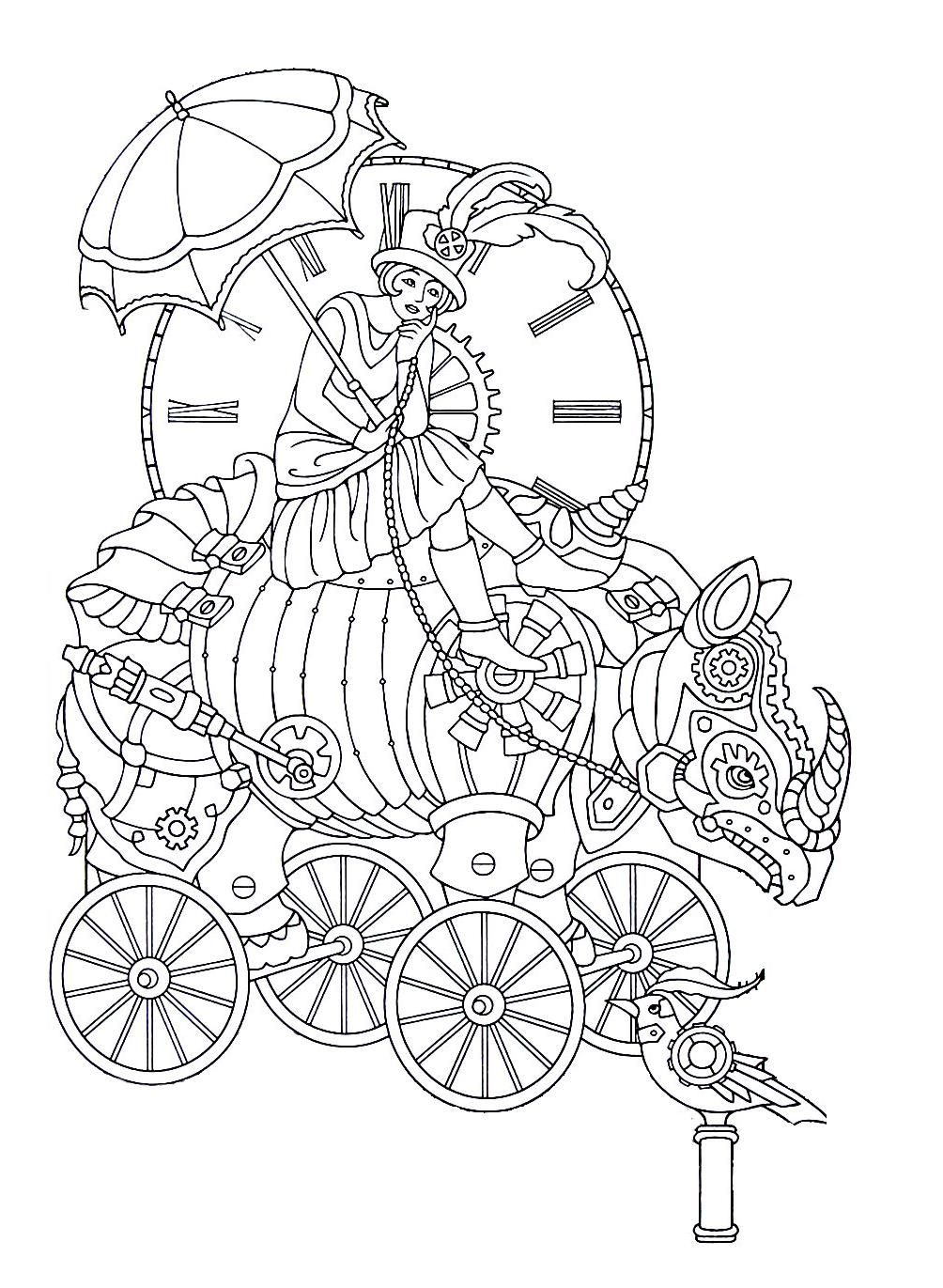 Steampunk Printable Coloring Book Page Easy To Medium Difficulty Coloring Steampunk Coloring Coloring Books Steampunk Printables
