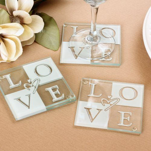 Glass Love Coasters Wedding Shower FavorsWedding