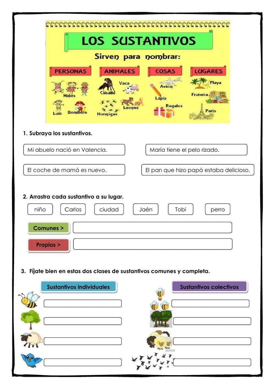Los Sustantivos Ficha Interactiva Y Descargable Puedes Hacer Los Ejercicios Online Sustantivos Y Sus Clases Ejercicios De Sustantivos Sustantivos Y Adjetivos