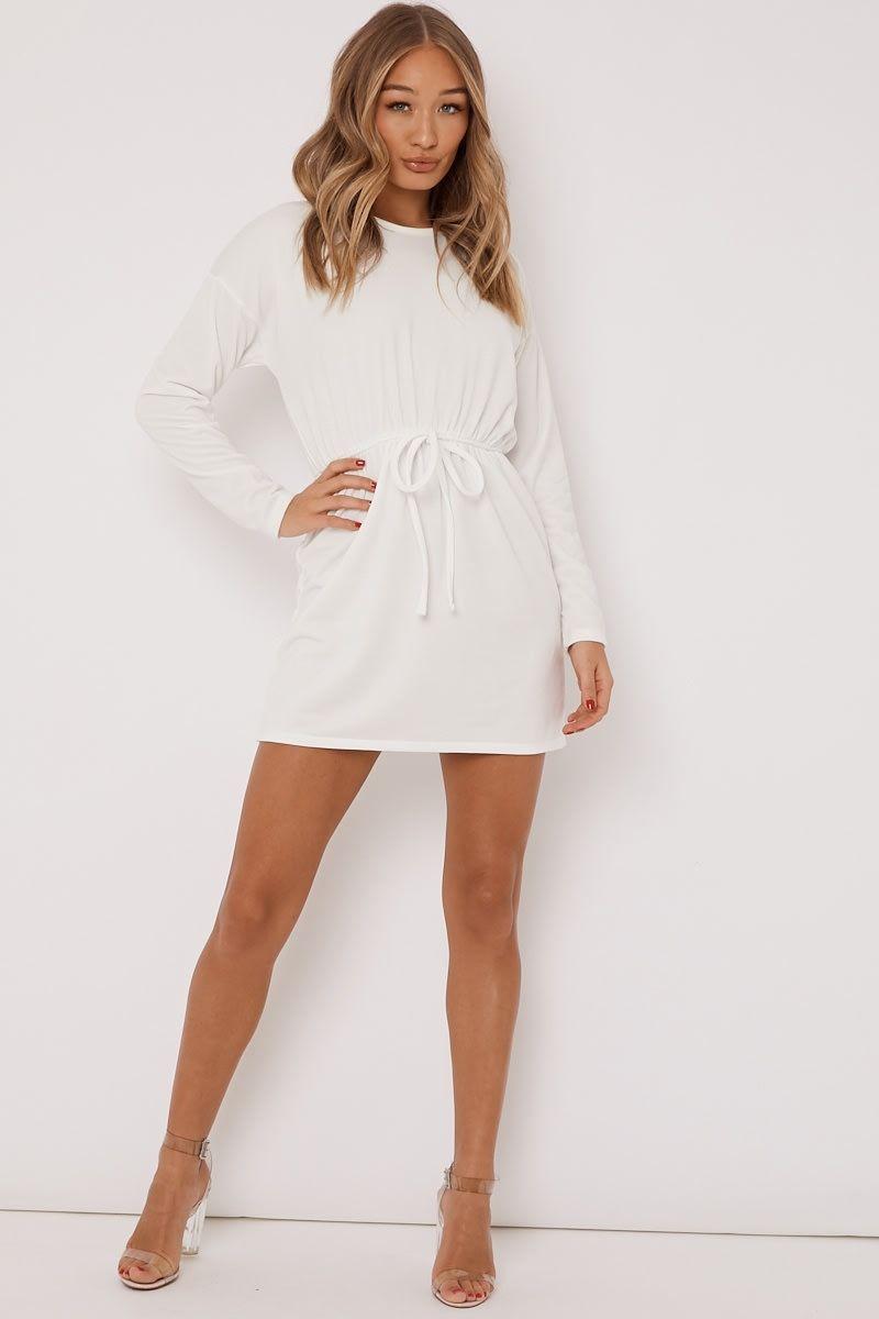 78a3a238d6e Deanie off white drawstring waist sweater dress in 2019