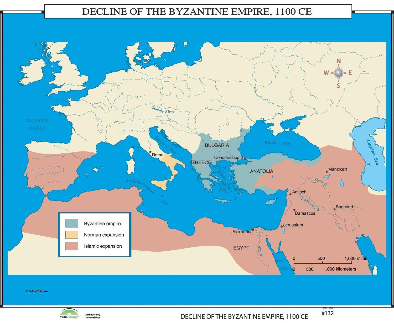 World History Wall Maps Decline Of Byzantine Empire Wall Maps - Historical wall maps