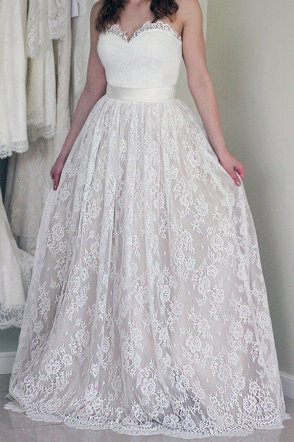 Sweetheart Neckline Lace A Line Wedding Dresses Strapless Cheap