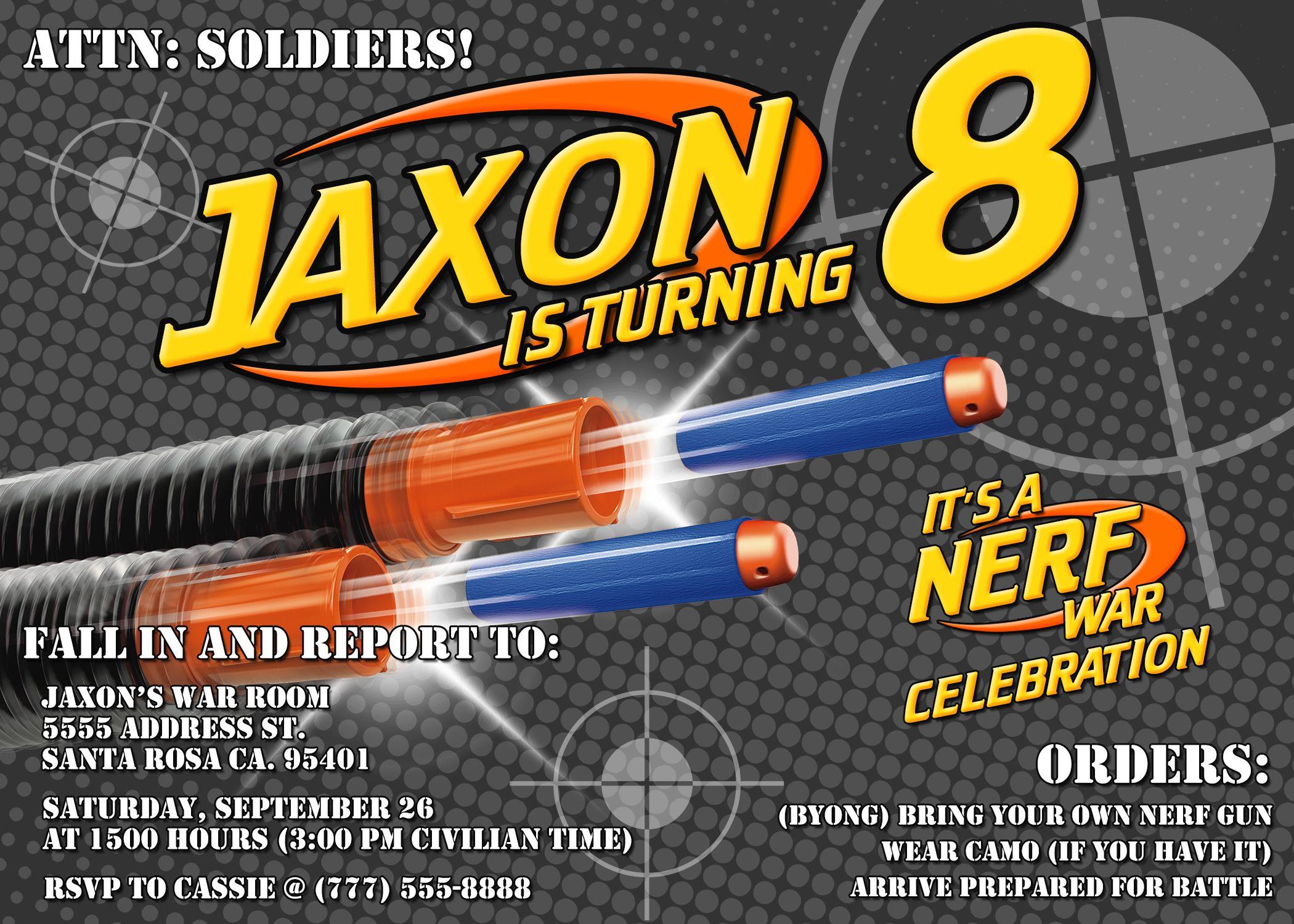 Birthday: Nerf Birthday Party Invitations Is The Masterpiece Of Your  Elegant Birthday Invitations 8
