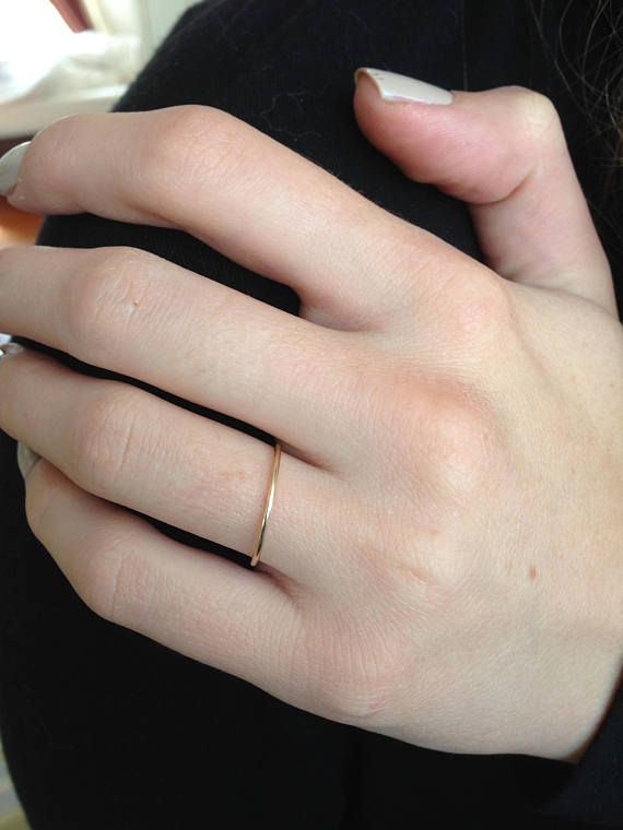 Simple Wedding Band White Gold Band Womens Wedding Band Etsy In 2021 Thin Gold Wedding Band Thin Gold Band Handmade Gold Ring