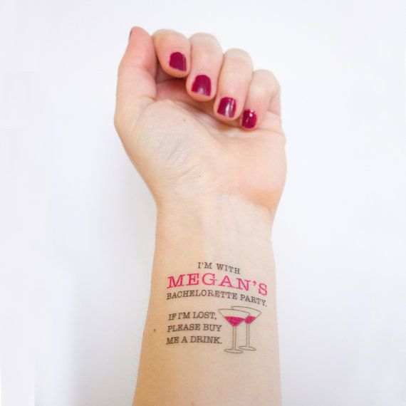 If lost Buy Me A Drink Temporary Tattoos, Bachelorette Party Favor, Custom Tattoo, Bachelorette Tatt