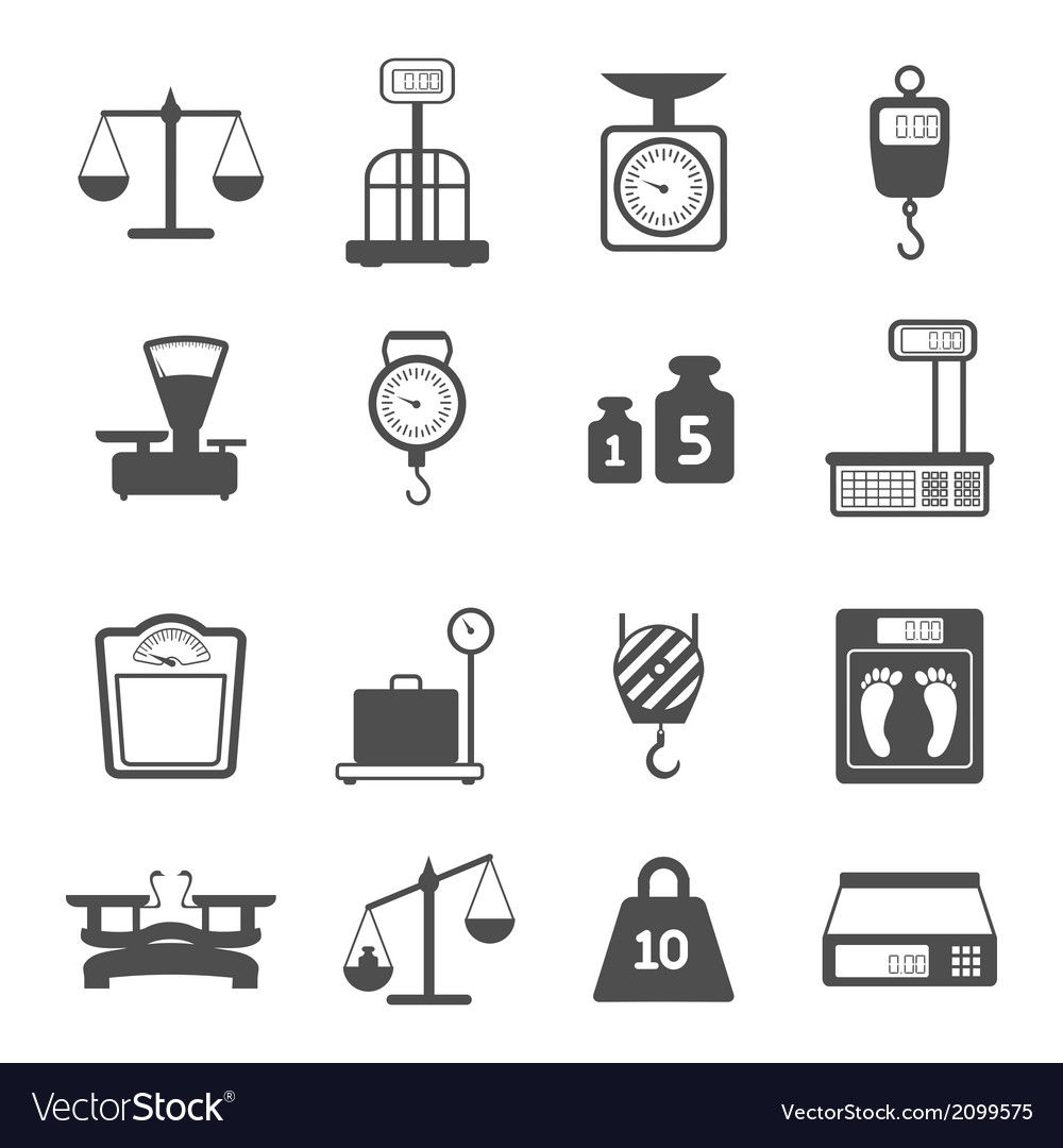 Scales Weight Icons Set Royalty Free Vector Image Ad Icons Set Scales Weight Ad Weight Scale Icon Set Icon Set Vector