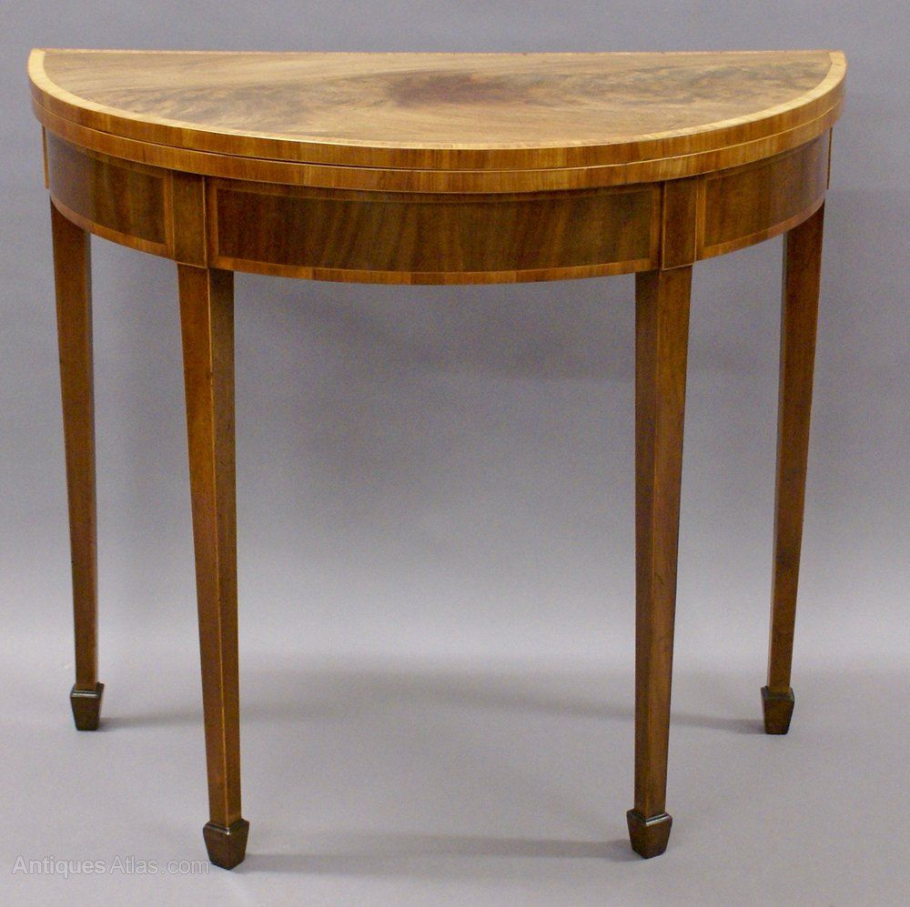 ab15882f27d8 Demi Lune Card Table With Superb Untouched Patina - Antiques Atlas ...