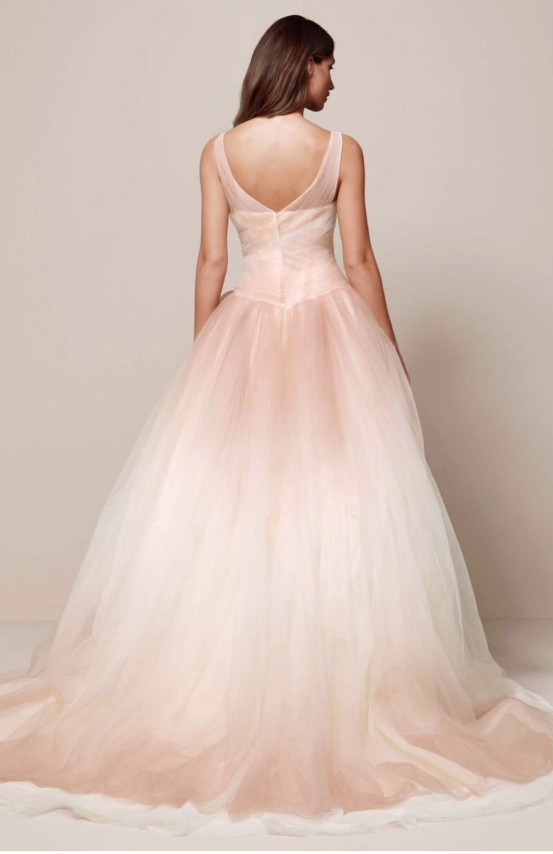 7546fae1837e9 A classic Vera Wang gown in ombre blush pink for a romantic twist on a  classic.