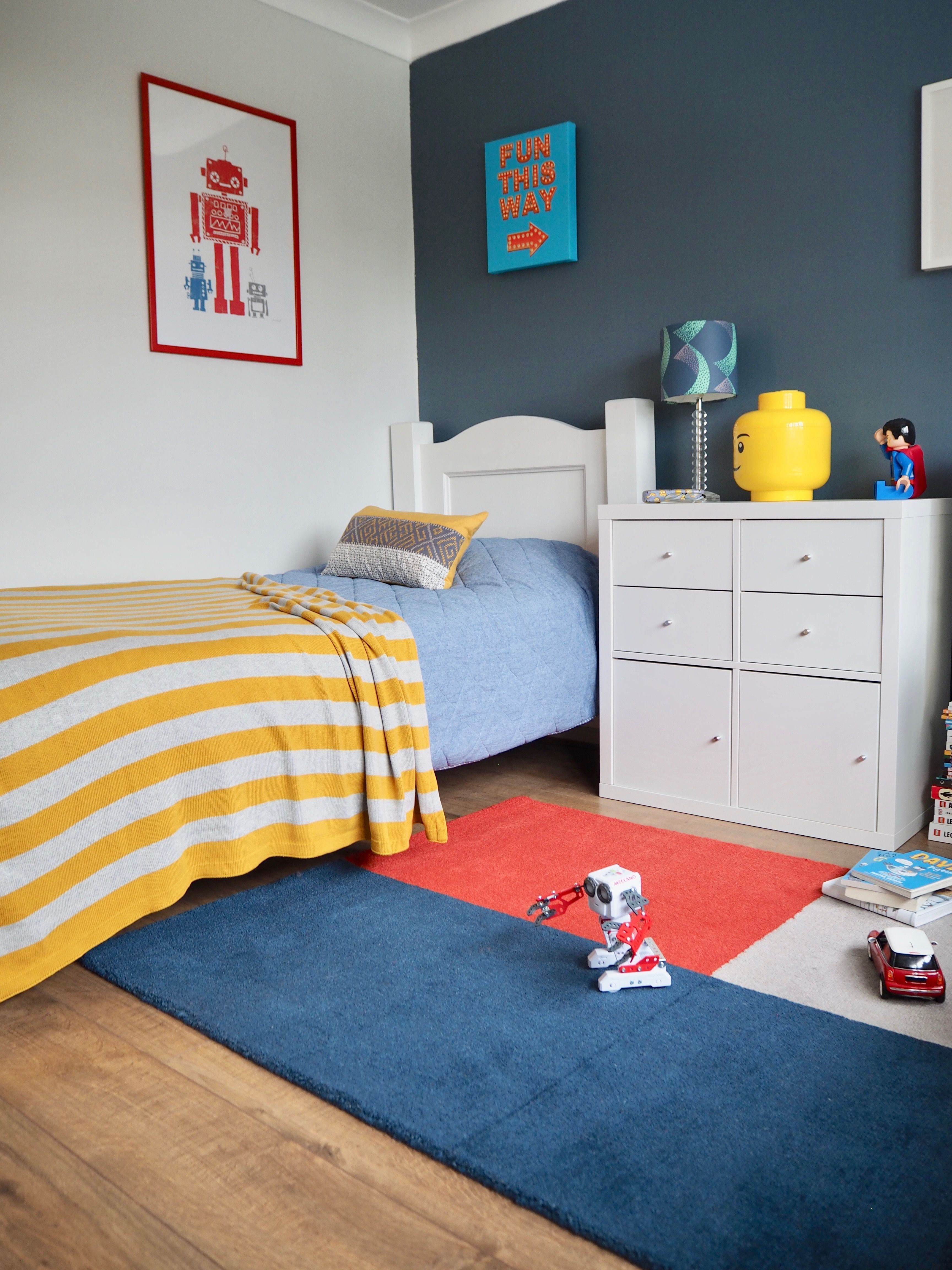 Kids Room Makeover In Blue And Red In 2020 Red Kids Rooms Red Accent Wall Bedroom Kid Room Decor