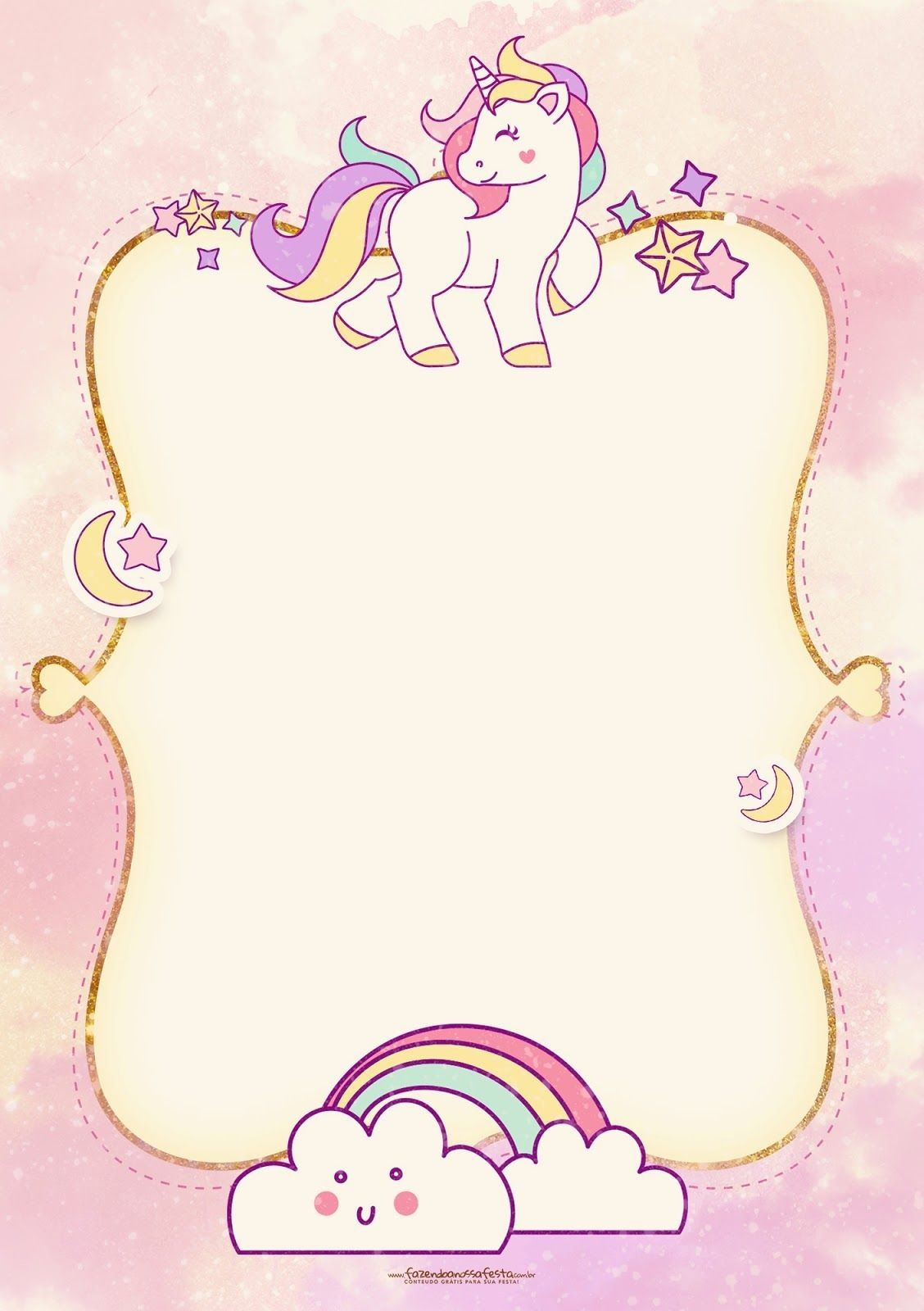 Cute Unicorn Birthday Invitations