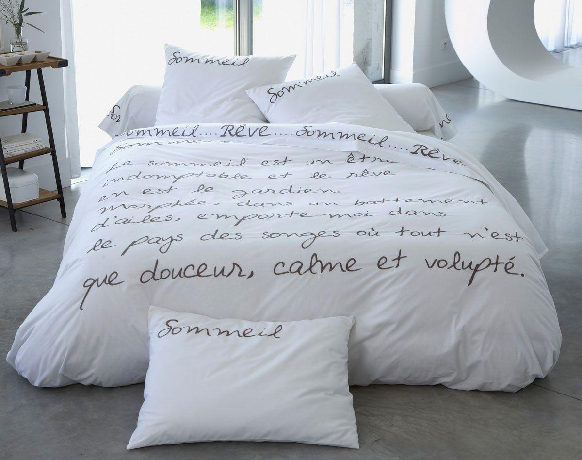 Linge de lit poème brodé sur percale | BECQUET