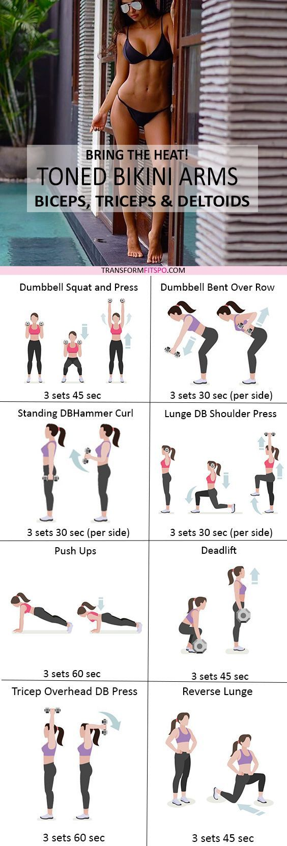 ? Bring the HEAT! Sexy, Toned Bikini Arms - Rapid Results Workout for Women! - Transform Fitspo #dumbbellexercises