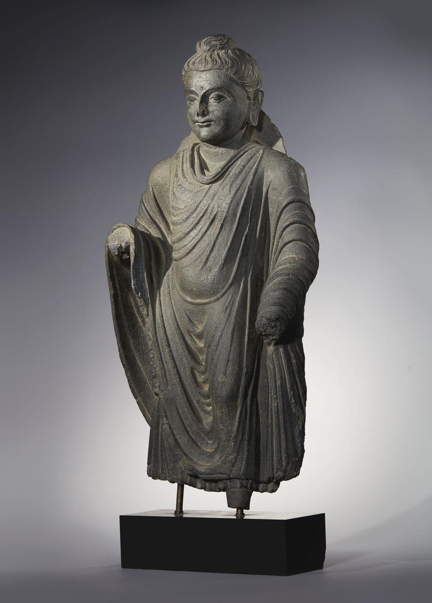 A Grey Schist Figure Of A Standing Buddha Ancient Region Of Gandhara Kushan Period 2nd 3rd Century In 2020 Southeast Asian Arts Buddha Art Asian Art