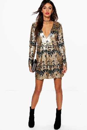 boohoo Reem Sequin Plunge Shift Dress - gold DZZ69524  Boutique Reem  Sequin Plunge Shift 481f2836a