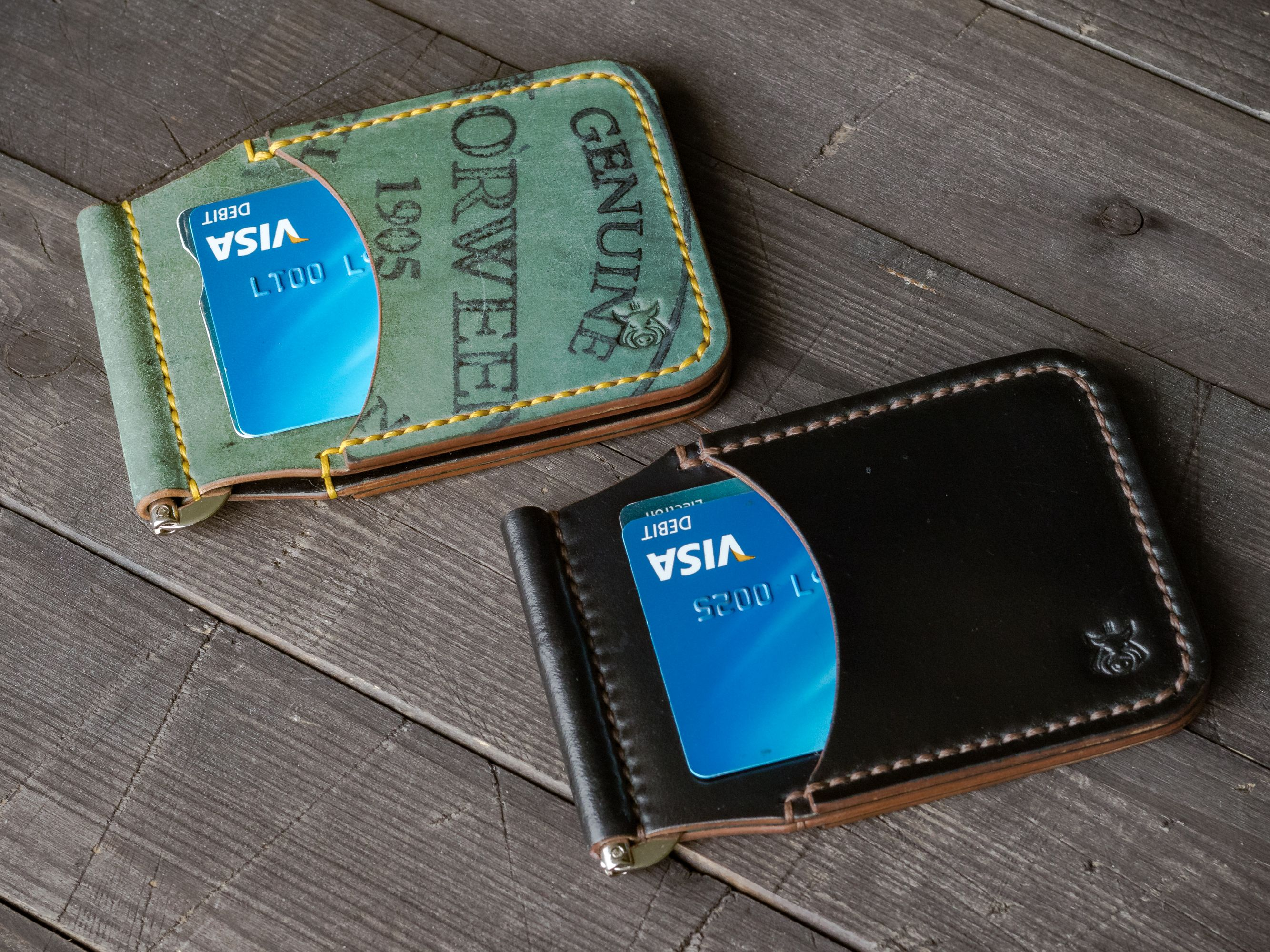 Horween shell cordovan leather card holder money clip
