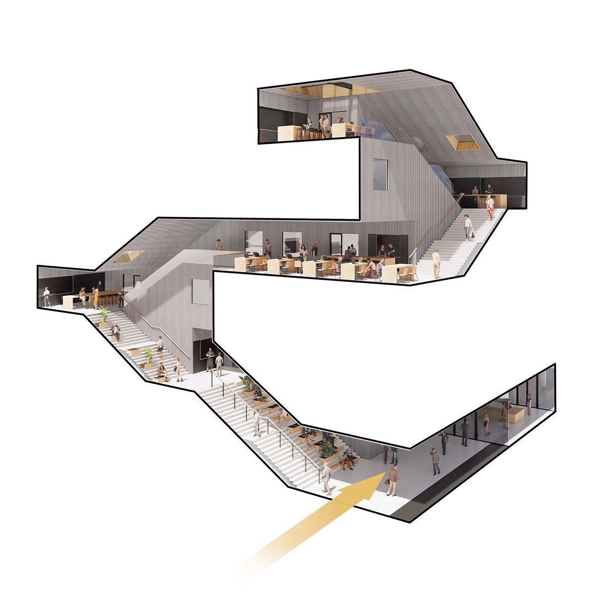 MVRDV releases Matrix 1 office building featuring zigzagging staircase that slices façade