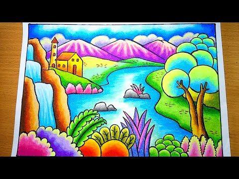 Cara Menggambar Pemandangan Alam Rumah Dan Danau Dengan Gradasi