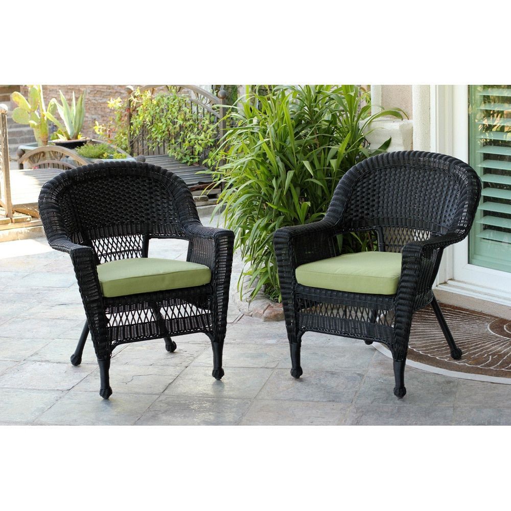 black outdoor wicker chairs. Jeco Black Wicker Chair (Set Of 2) (Green), Patio Furniture ( Outdoor Chairs