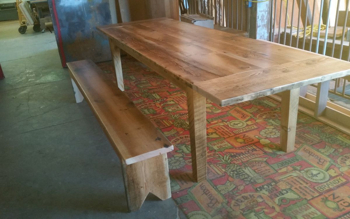 Craftsman Style Rough Sawn Douglas Fir Table And Bench.