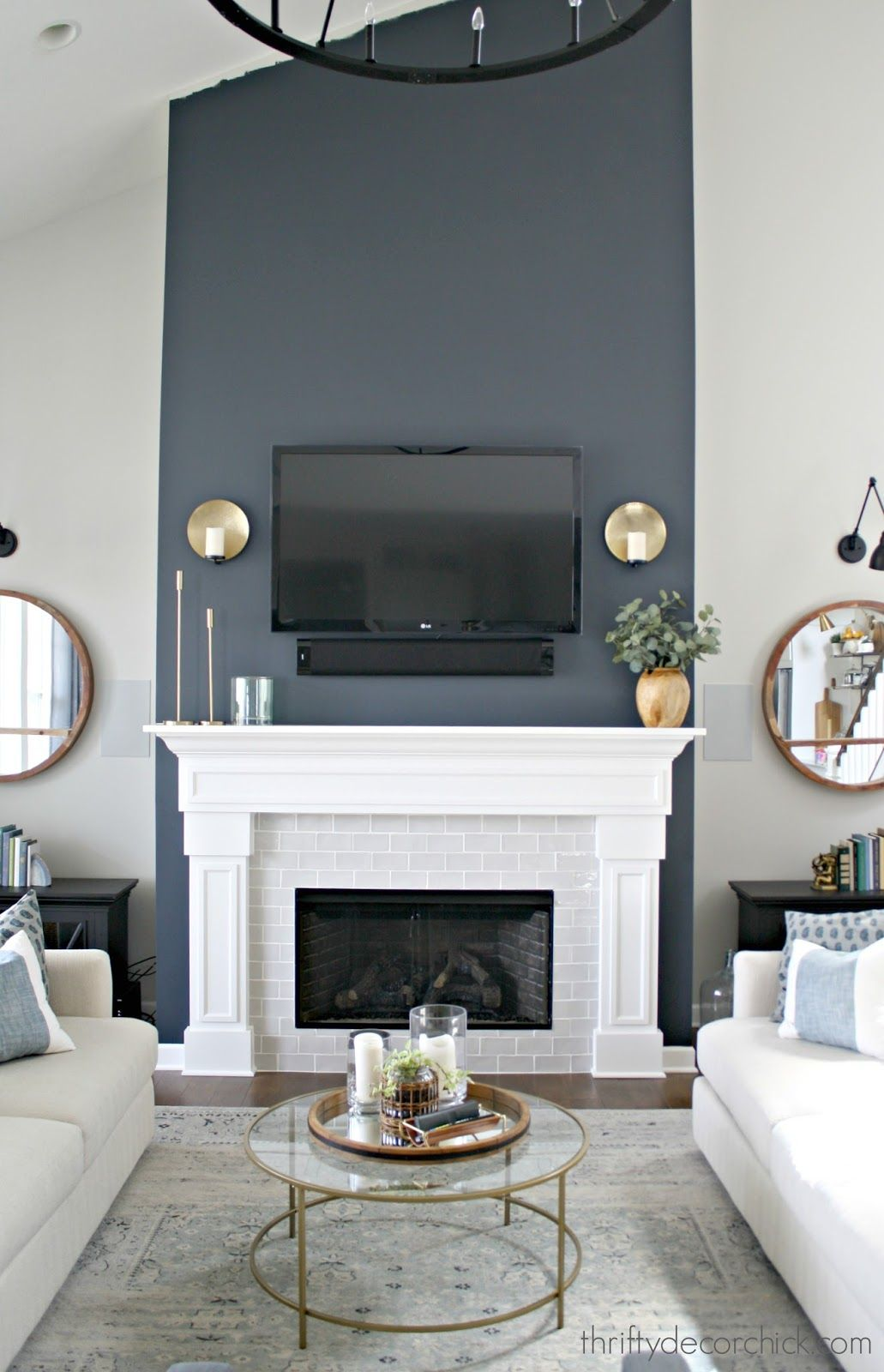 Photo of Tall fireplace wall transformation with paint!