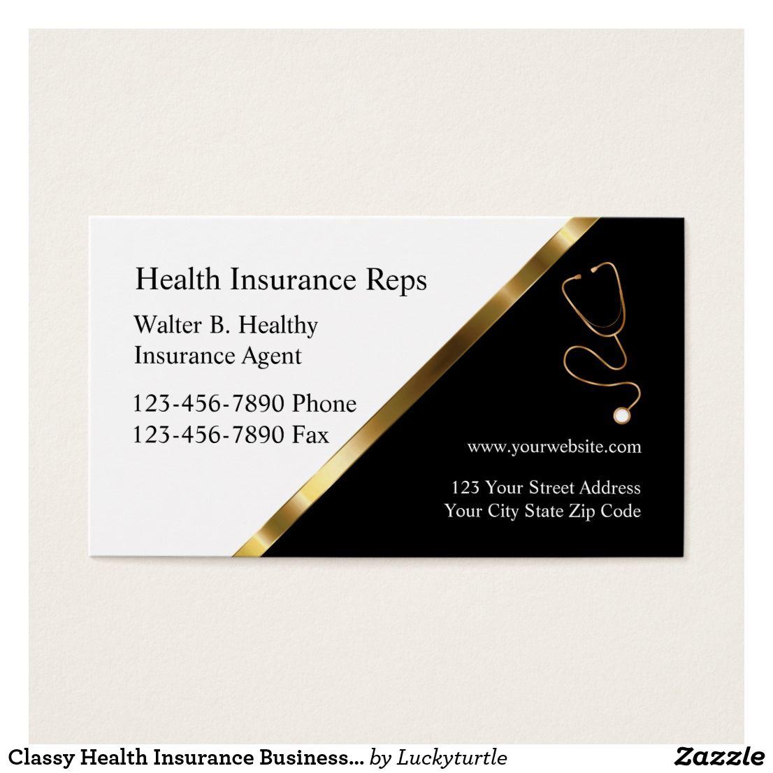 Classy health insurance business cards zazzleca