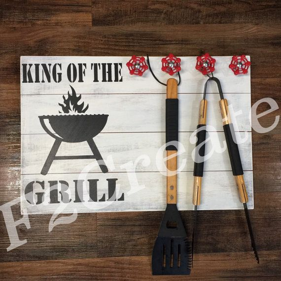 King of the grill sign wood grill sign grill by - Grill utensil storage ideas ...