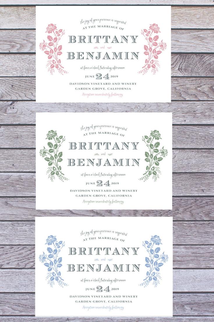 Elegant Fl Wedding Invitations Design Your Own Customize Natural