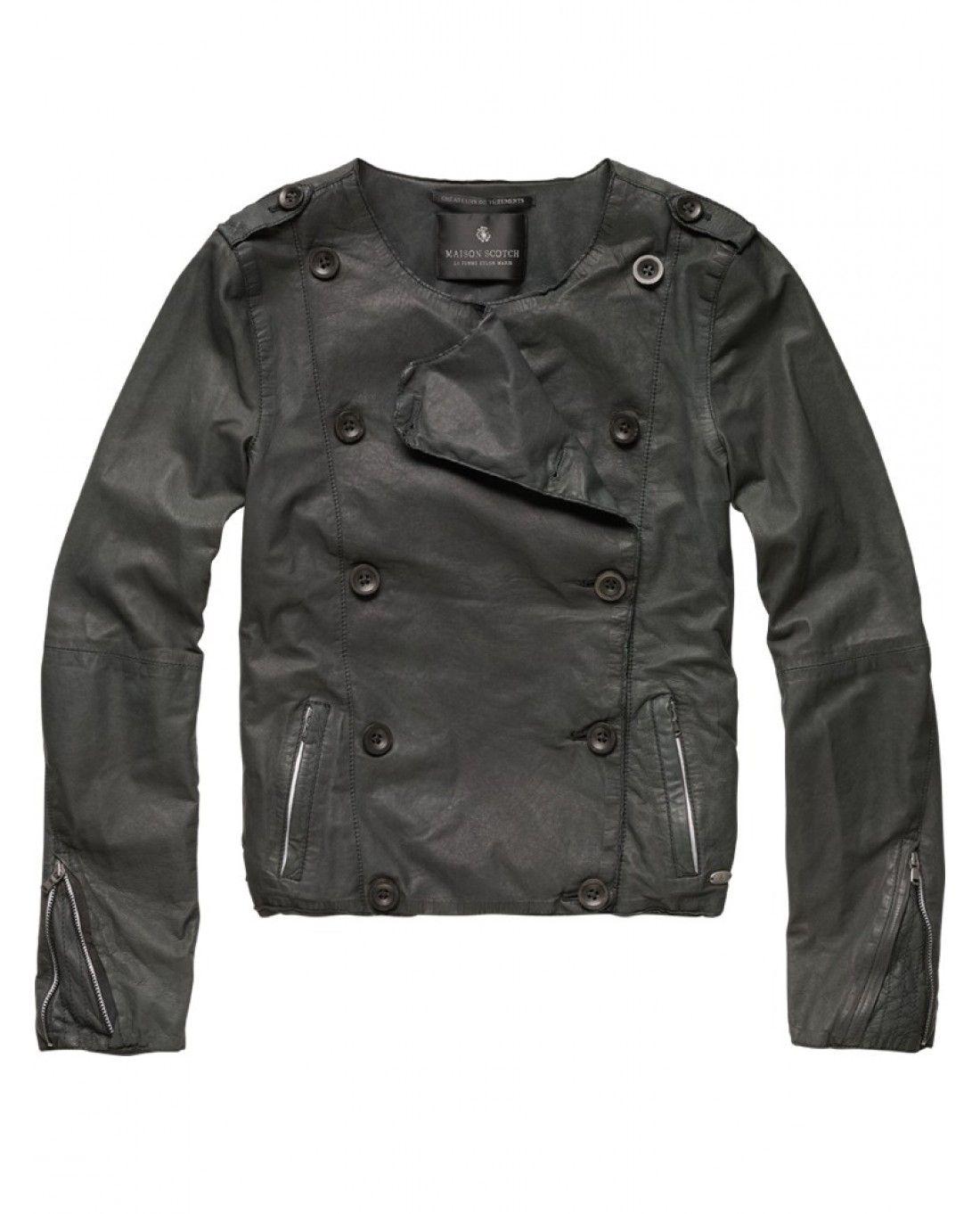 leather pea coat styled jacket ++ scotch & soda