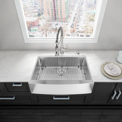 Vigo 33 L X 22 W Farmhouse Apron Kitchen Sink Products Farmhouse Sink Kitchen Apron Sink Kitchen Apron Front Kitchen Sink