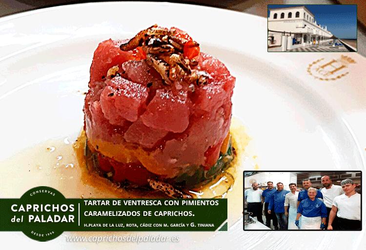 Gran Noche en el evento gastronómico en Rota con nuestro chef Miguel García Chef, celebrado en el Hotel Playa de la Luz, junto al chef Gabriel Tatiana y  su equipo de Cocina, utilizando nuestros pimientos caramelizados al moscatel, en su plato de tartar de Ventresca