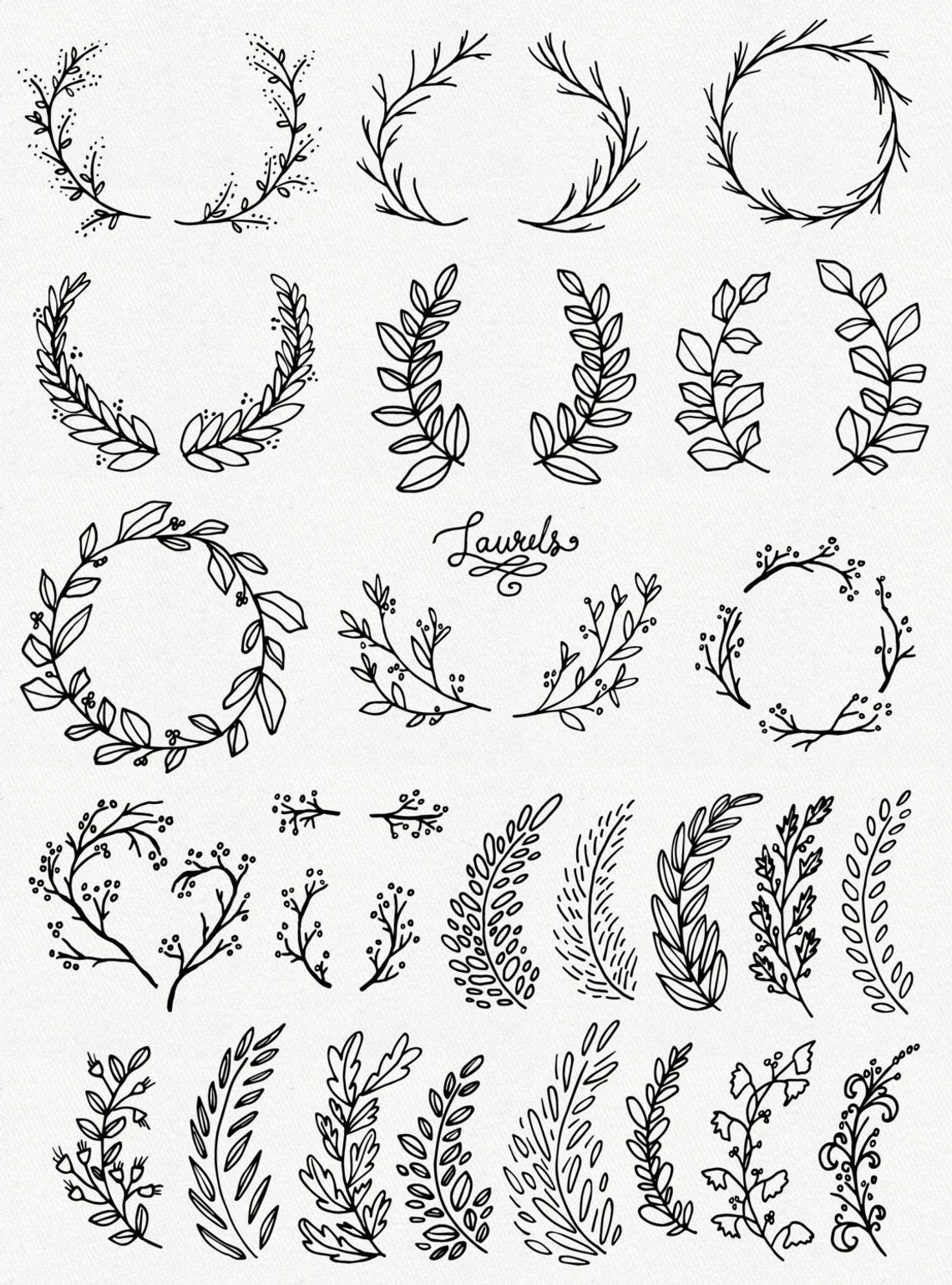 Laurel Wreath Clipart, Wreath Clip Art, Laurel Wreath PNG, Botanical Clipart, Hand Drawn Clip Art, Floral Wreath Vector, PNG, Commercial Use