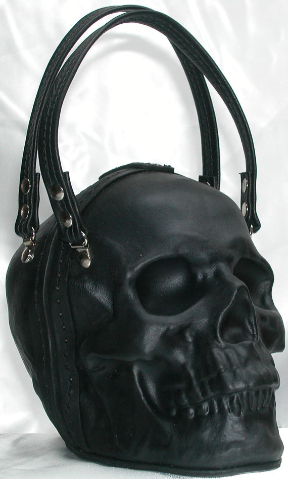 7a4db0700968 Leather Skull Purse in Black by GriffinLeather