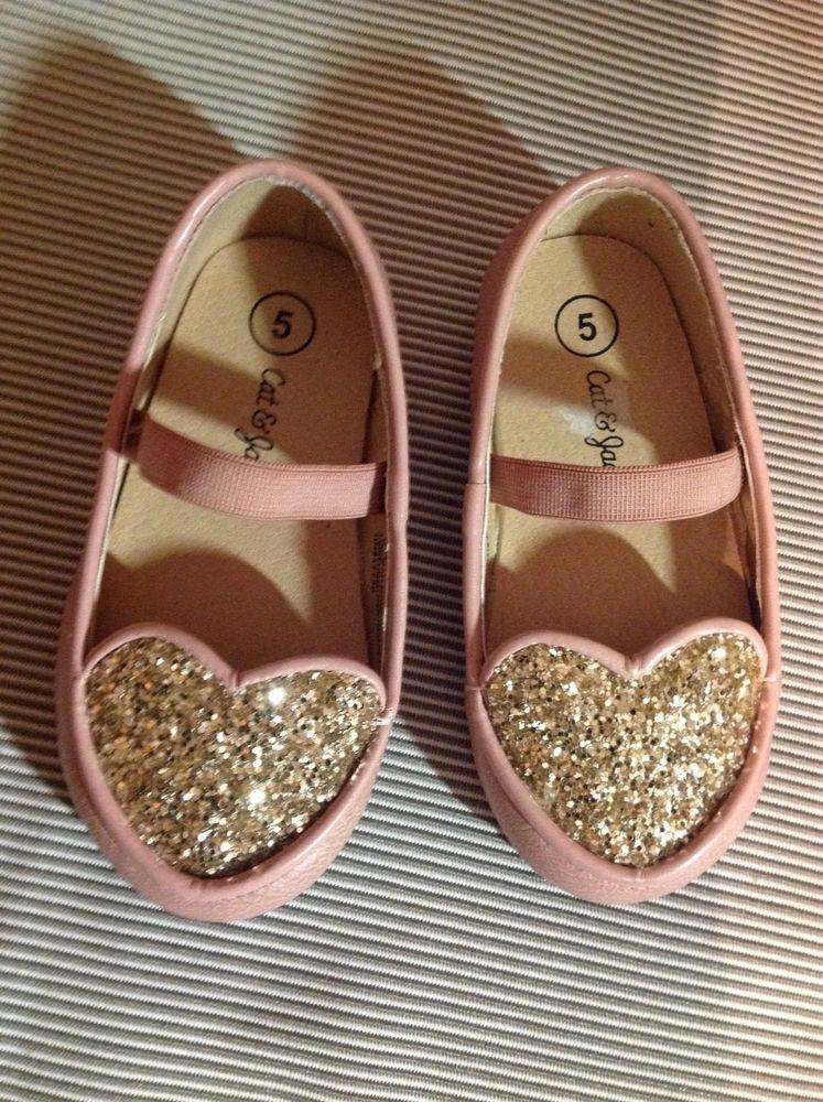 5323a8389e1d Cat & Jack Toddler Girl Pink & Gold Glitter Heart Ballet Flats Dress Shoes  Sz 5 #CatJack #DressShoes