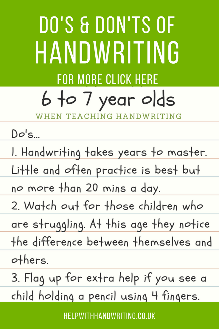 handwriting tips for 6 to 7 year olds from handwriting resources. Black Bedroom Furniture Sets. Home Design Ideas